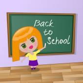 Girl wrote chalk on a blackboard