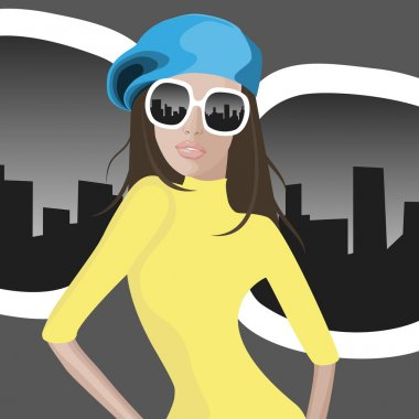 Woman in glasses on the background of the city