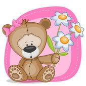Medve lány virággal