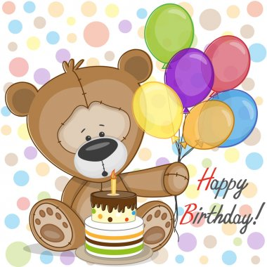 Bear with baloons