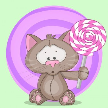 Cute  Cat with candy