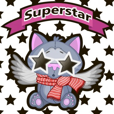 Superstar Cat with star glasses