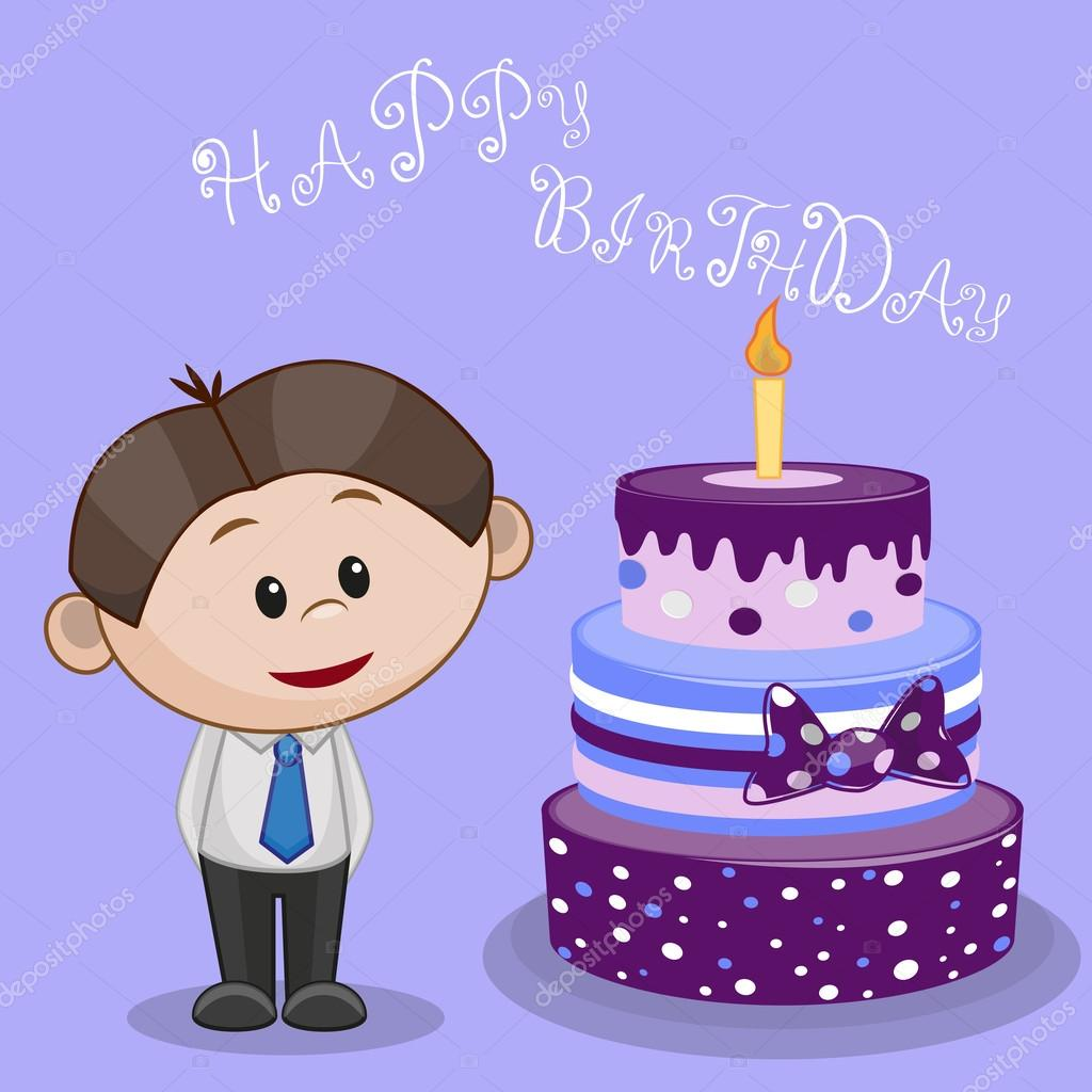 Junge Mit Kuchen Karte Stockvektor C Reginast777 62710441