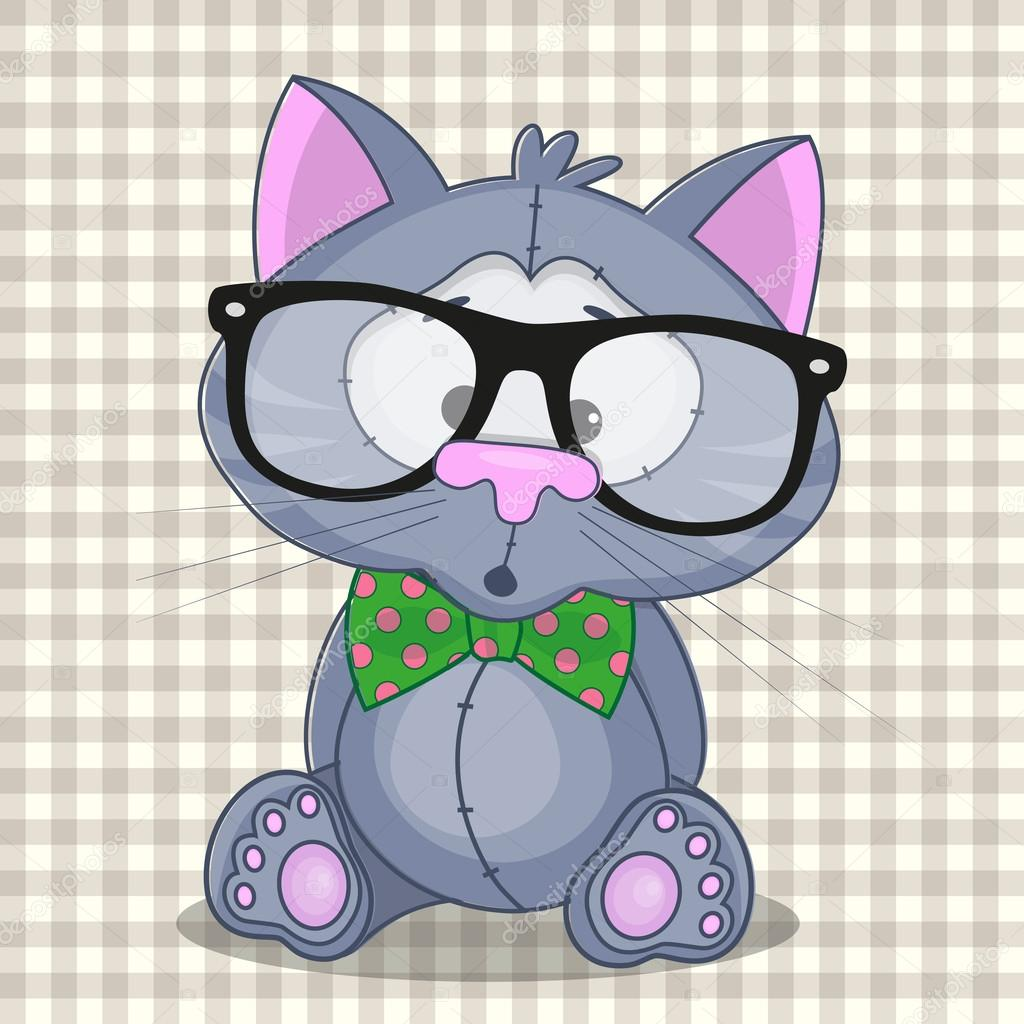 Hipster Cat On A Plaid Background Vector By Reginast777