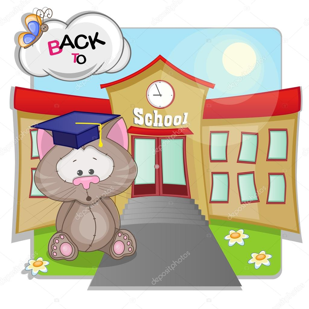 Cartoon  Cat and school