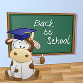 Cartoon Cow wrote in classroom