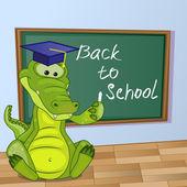 Cartoon Crocodile wrote in classroom