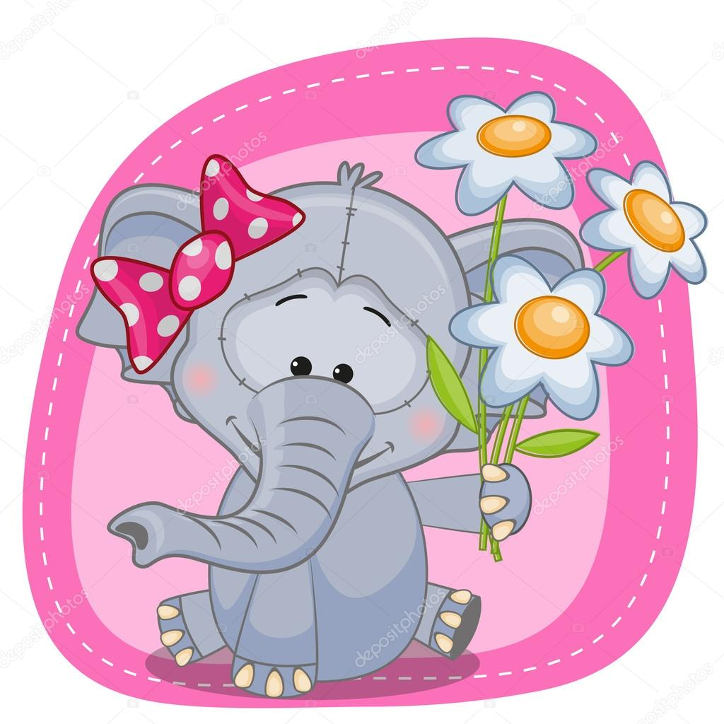 Elefant mit Blumen-Karte — Stockvektor © Reginast777 #62808159