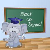 Cartoon Elephant wrote in classroom