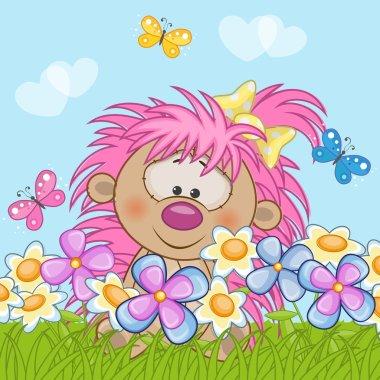 Hedgehog girl with flowers