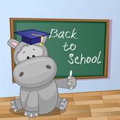 Cartoon Hippo wrote in classroom