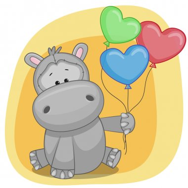 Happy  Hippo with balloons