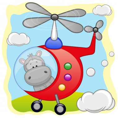 Cute Hippo in helicopter