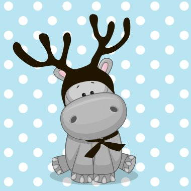 Cute Hippo with antlers