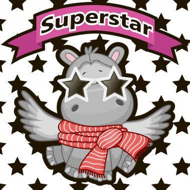 Superstar Hippo with glasses