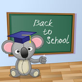 Cartoon Koala wrote in classroom