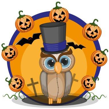 Halloween Owls with pumpkin