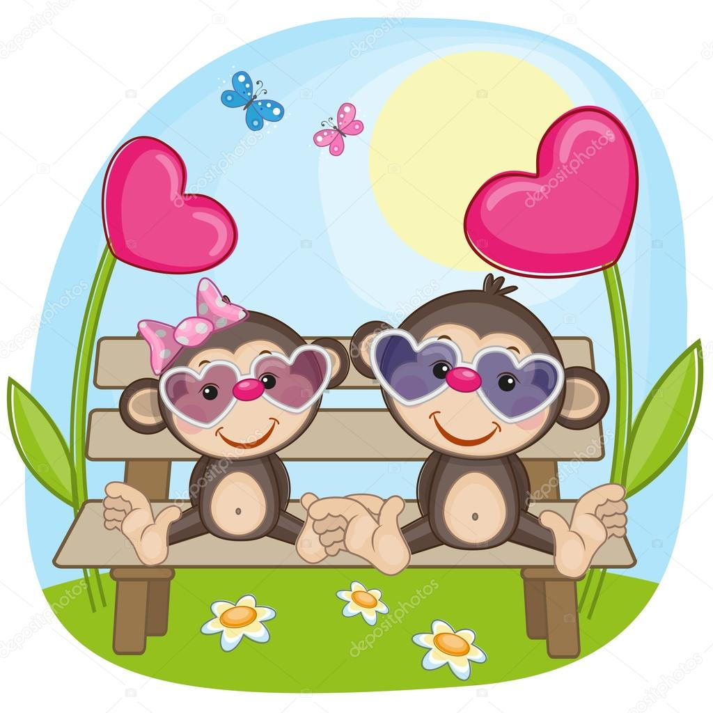 Lovers monkeys Valentine card