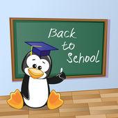 Cartoon Penguin wrote in classroom