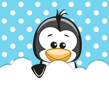 Penguin peeking out  the cloud