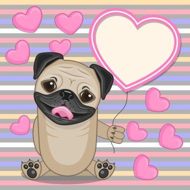 Pug Dog with heart frame