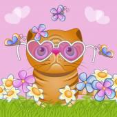 Kočka s květinami