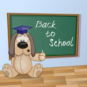Cartoon Dog wrote in classroom