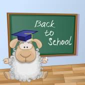 Cartoon Sheep wrote in classroom