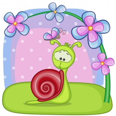 Snail with flowers