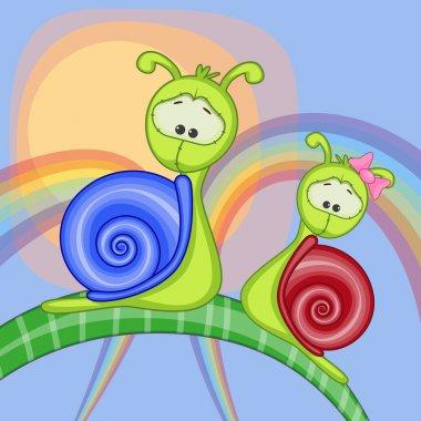 Cute Lovers Snails