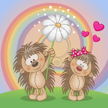 Valentine card with two Hedgehogs on a meado clip art vector