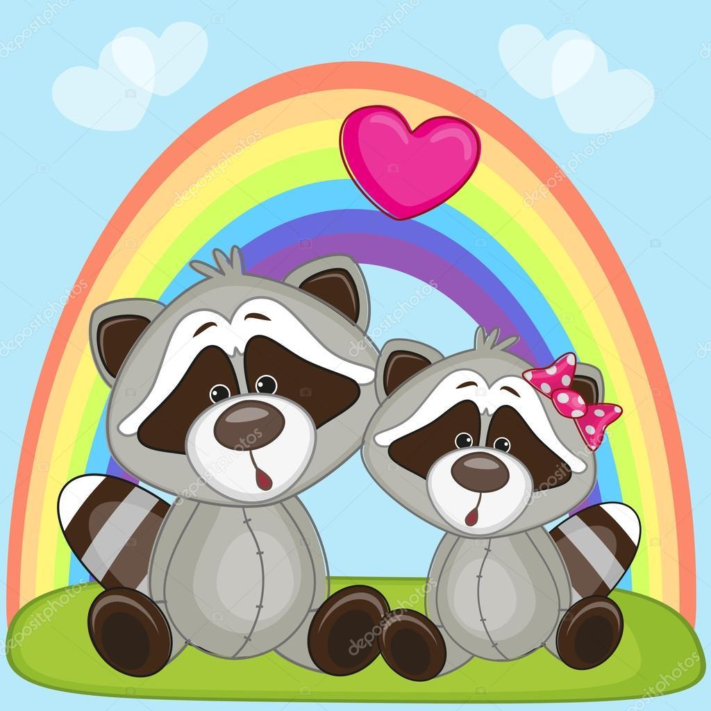 Cute Lovers Raccoons