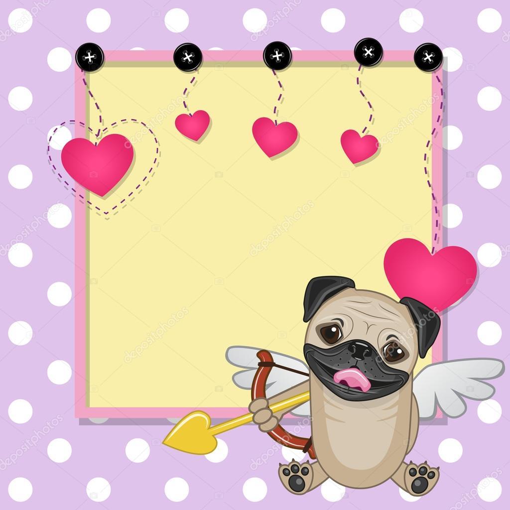 Perro Pug de Cupido con el marco — Vector de stock © Reginast777 ...