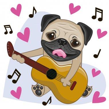 Pug Dog with guitar