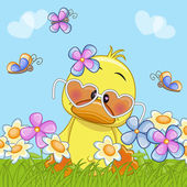 Kachna s květinami