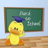 Cartoon Duck wrote in classroom