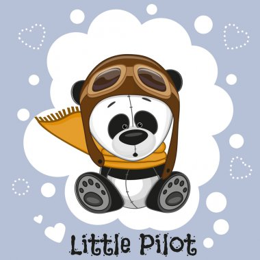 Cute cartoon Panda in a pilot ha stock vector