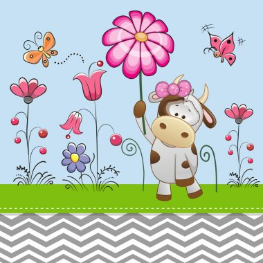 Cute Cow with a Flower