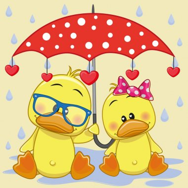 Two Ducks with umbrella