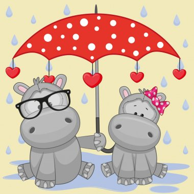 Two Hippos with umbrella