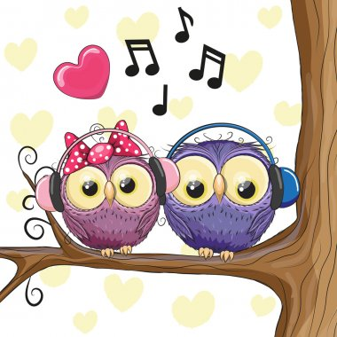 Two owls with headphones
