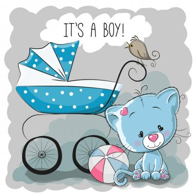Greeting card it's a boy with baby carriage and ca stock vector