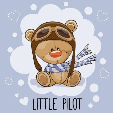 Cute cartoon Teddy Bear in a pilot hat stock vector