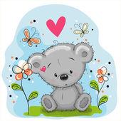 Fotografie medvěd s květinami
