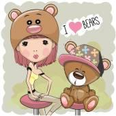 dívka a medvěd