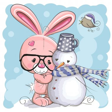 Cute Bunny and Snowman