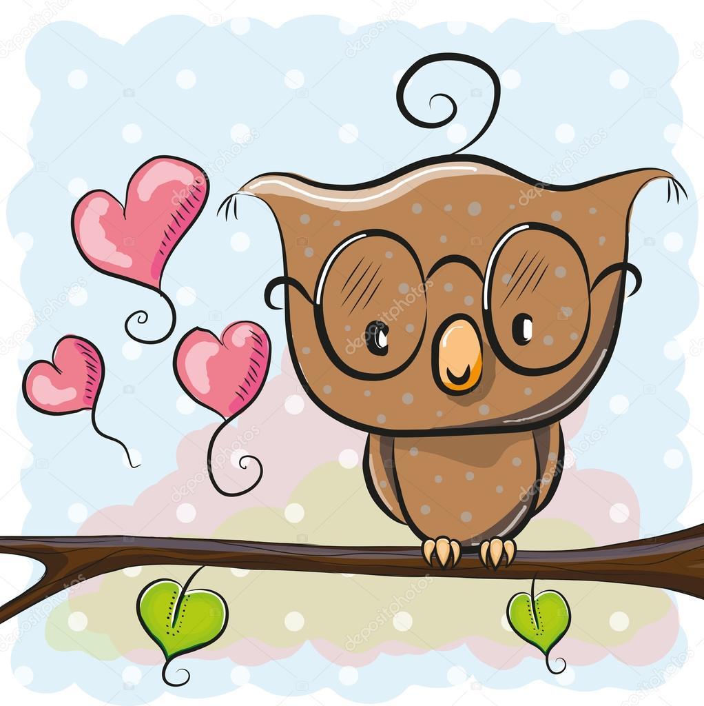 Cute Owl With Glasses Stock Vector C Reginast777 93070708