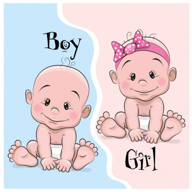 Baby boy and girl