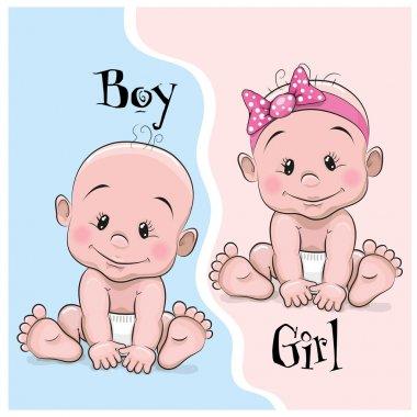 Two Cute Cartoon babies boy and girl stock vector