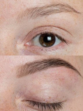 Before and after eye brows